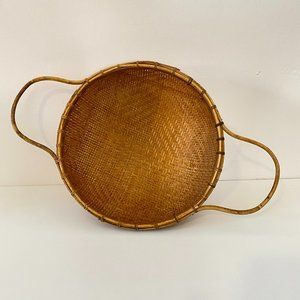 Vintage Woven Basket Sieve with Bamboo Handles
